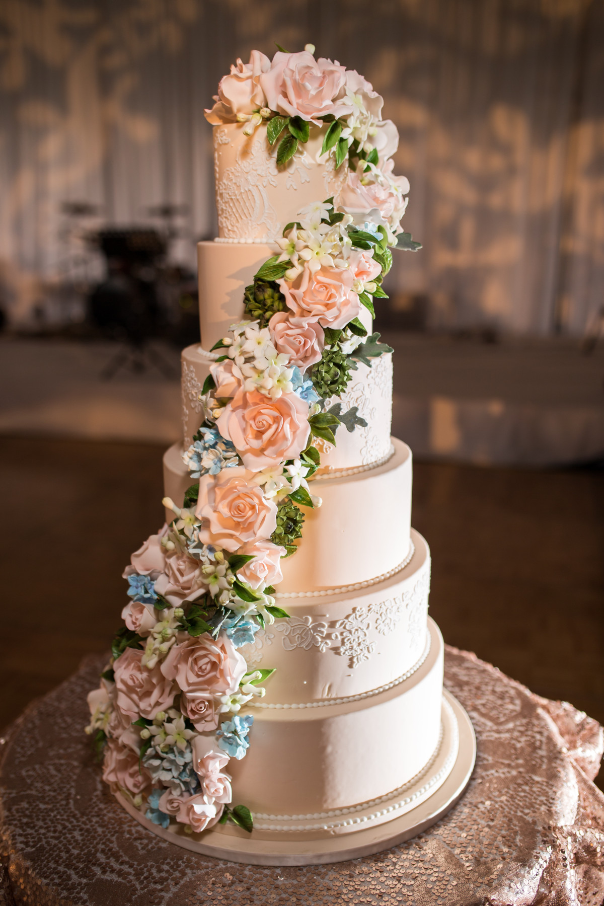 Custom Cake Spotlight: Cascading Sugar Floral Wedding Cake