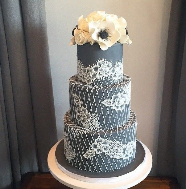 Grey Brush Embroidery Lace Wedding Cake By Elysia Root Cakes