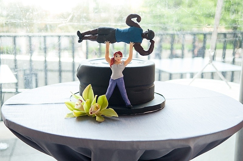 Bodybuilder grooms cake and Blooming Wedding Cake